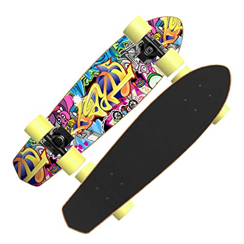 GDF-SKATEBOARD Skateboards Complete Skateboards Professional Skateboards Mini Cruiser Skateboards Maple for Beginners Boys Girls Kids Adults (Color : A) (Classic Mini Best Shock Absorbers)