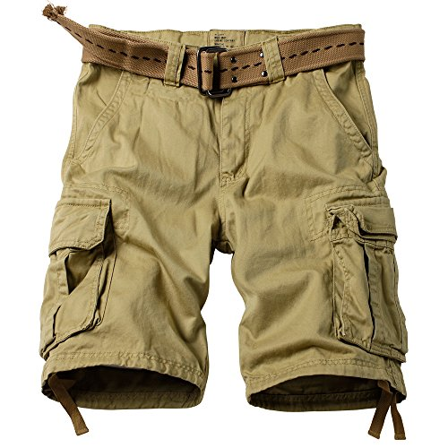 (AKARMY Men's Multi Pocket Loose Fit Cotton Twill Cargo Shorts 8062# Khaki 34)
