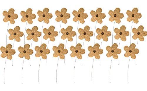 Firefly Craft Rustic Burlap Flower Picks, Set of 24 (Ideas Easy Centerpiece 24 Christmas)