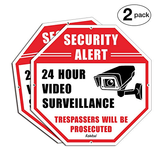 "Top Faittoo 2-Pack Security Signs, No Trespassing Metal Warning, Octagon 12""x12"" Rust Free .040 Aluminum Signs for Home Business CCTV Security Cameras, UV Protected & Waterproof (Reflective) supplier"