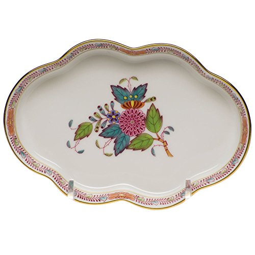 Herend Chinese Bouquet Multicolor Scalloped Tray