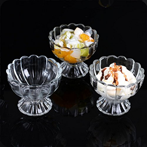 DayCount Pack of 3 Lead-free Transparency 3.5 OZ Glass Cup for Juice Dessert Salad Ice Cream Milkshake Creative Kitchen Tableware Accessories
