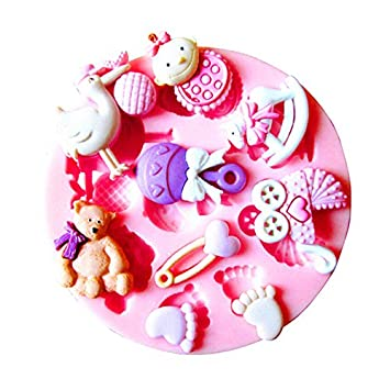 JER pies Cute Baby Shower Fondant and Gum Paste Silicona Resin Candy moldes para Tartas moldes: Amazon.es: Hogar