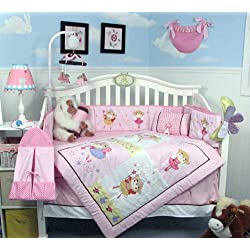 SoHo Little Ballet Star Baby Crib Nursery Bedding Set 14 pcs included Diaper Bag with Changing Pad & Bottle Case Pink and White