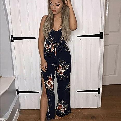 b52903518a38 Amazon.com  Kinikiss Women s Floral Print Jumpsuit Ruffle Off Shoulder  Halter High Waist Casual Playsuit Romper (XL