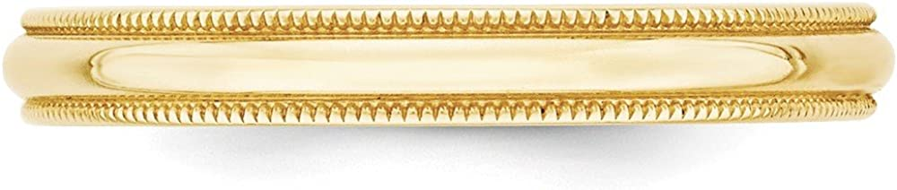 10KY 3mm LTW Milgrain Half Round Band Size 11 Size 11 Length Width 3