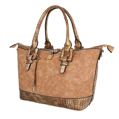 For Light Brown Shoulder Woman Plastic design Bag Ital qgwfz6