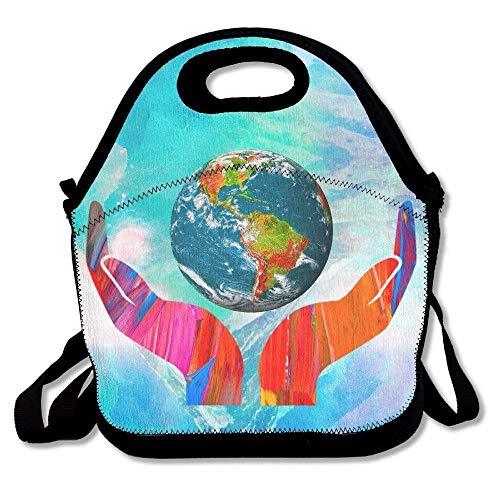 Large Reusable Picnic School Food Lunch Bags Case Box Handy Shoulder Bag Portable For Climate Change Global Warming ()