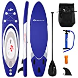 Goplus Inflatable Stand up Paddle Board Surfboard SUP Board with Adjustable Paddle Carry Bag Manual Pump Repair Kit Removable Fin for All Skill Levels, 6' Thick (Navy, 11')