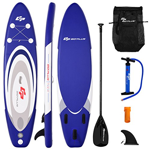 Goplus Inflatable Stand up Paddle Board Surfboard SUP Board with Adjustable Paddle Carry Bag Manual Pump Repair Kit Removable Fin for All Skill Levels, 6 Thick (Blue, 11)