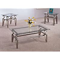 3 Piece Coffee Table Set - Glass Tops, Coffee Table And 2 End Tables
