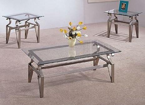 Amazoncom 3 Piece Coffee Table Set Glass Tops Coffee Table