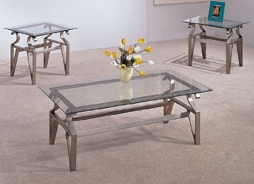Amazon Com 3 Piece Coffee Table Set Glass Tops Coffee Table And 2 End Tables Kitchen Dining