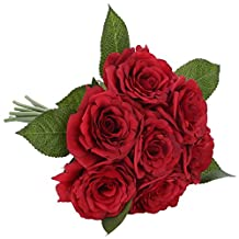 SOLEDI Artificial Flowers 7 Heads Hand Drawn Artistic Roses For Wedding Home Bar Decor (Red)