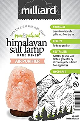 Milliard Himalayan Salt Lamp; Natural Ionic Air Purifier with Wood Base, UL Listed Dimmable Fixture and 25W Bulb - Large 6.5-11 lb