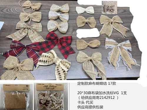 17 PCS Burlap Bow Jute Bow Lace Bowknot for Wedding Party Decor Home Embellishment DIY Crafts