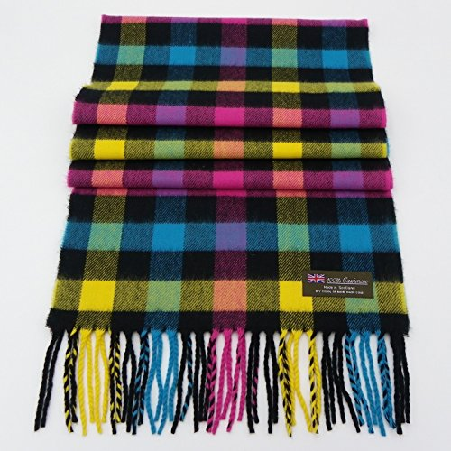 Rosemarie Collections 100% Cashmere Scarf Made in Scotland (Neon Check Plaid) (Ann Taylor Loft Green)