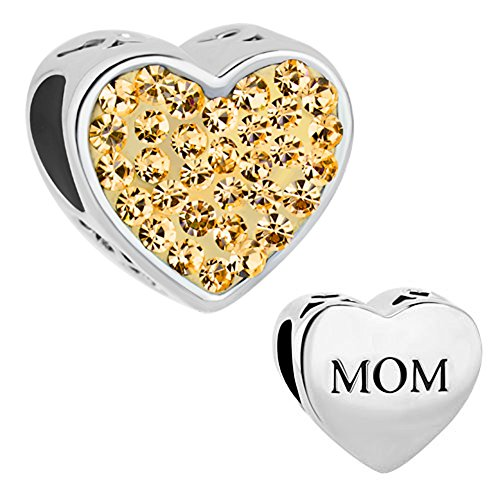 Charmed Craft Heart Love Mom Charms November Yellow Crystal Beads For Bracelets (Yellow) - Mom Flower Charm