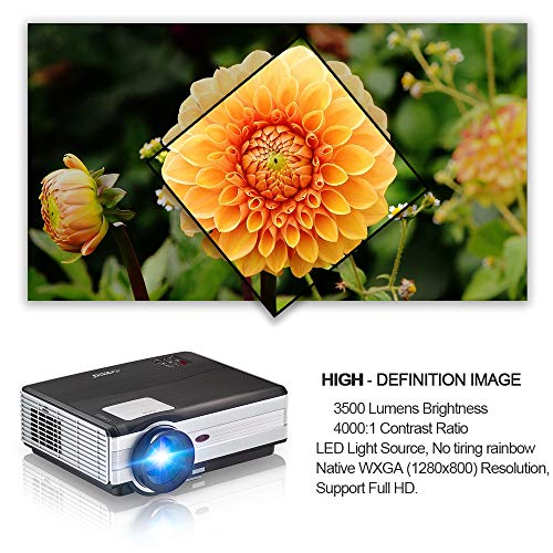 "EUG HD LCD Multimedia Video Projector 200"" TFT Display, 4400 Lumen WXGA Outdoor Movie Projectors Home Theater Support 1080P HDMI USB AV 3.5mm Audio, Compatible with DVD Roku PC Xbox Wii PS4/3 Camera"