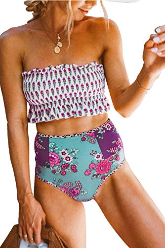 - VECVOC Women's Floral Printed Ruffle High Waisted Bikini Set Pleated Bandeau Two Pieces Bathing Suits Rose