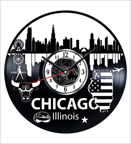 Illinois Chicago Vinyl Wall Clock Vintage Record - Get Unique Home and Office Decor Bedroom Kitchen Kids Living Room - Gifts for Men Women Kids Father Mother - Wall Art - Vintage Clock Illinois