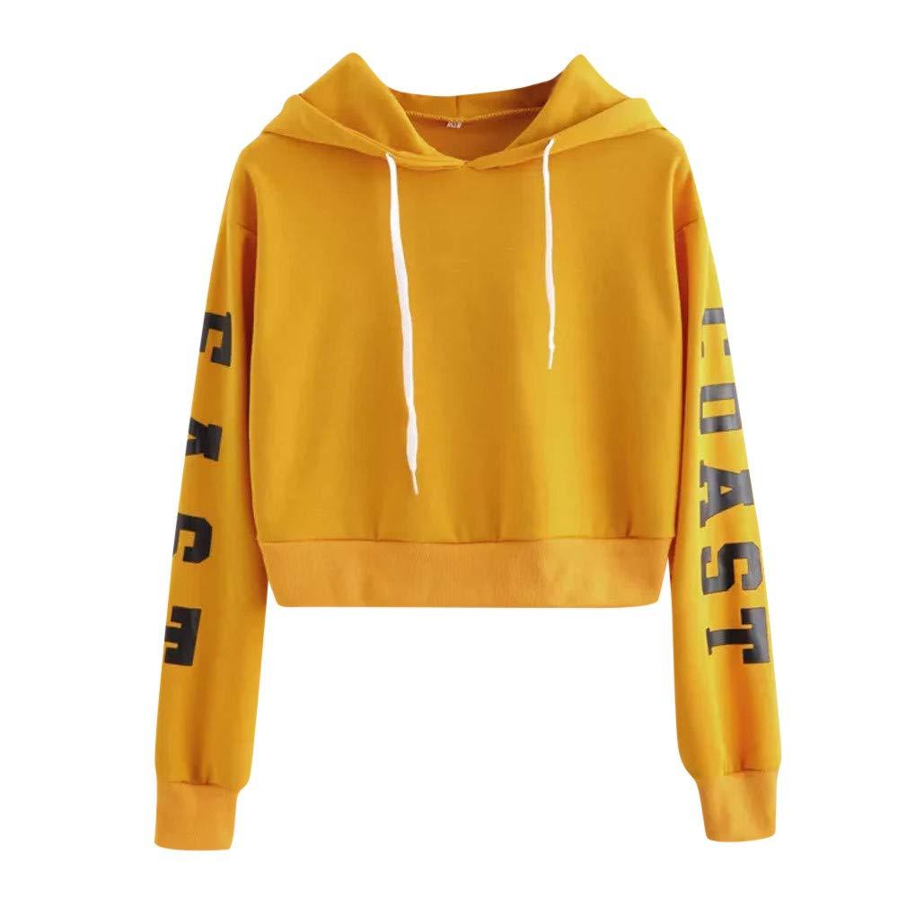 Women Hoodies Sweatshirt, Farjing Letters Long Sleeve Hoodie Sweatshirt Pullover Tops Blouse(XS,Yellow)
