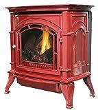Ashley AGC500VFRLP Vent-Free Red Enameled Porcelain Cast Iron Stove, 31,000 BTUs