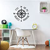 Compass Wall Decal - You Are My Greatest Adventure - Vinyl Sticker Decorations for Bedroom, Playroom, Study Area or Living Room Decor