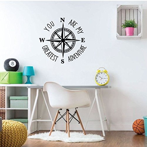 Compass Wall Decal - You Are My Greatest Adventure - Vinyl Sticker Decorations for Bedroom, Playroom, Study Area or Living Room Decor by CustomVinylDecor