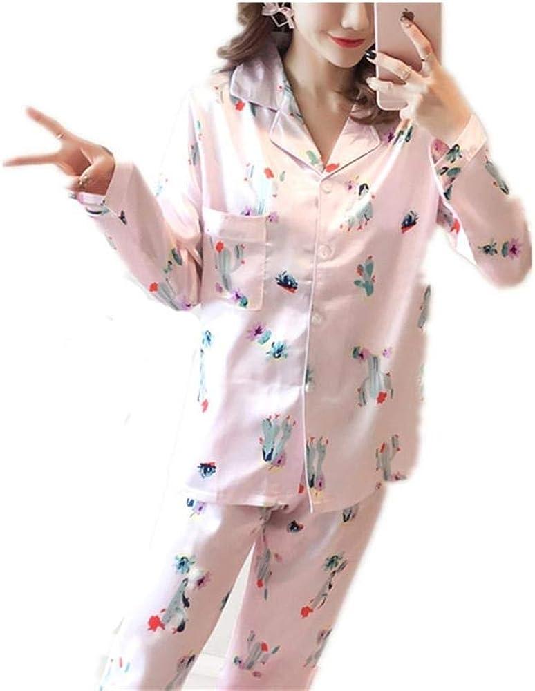 Pijamas Mujer Saten Mujer Camisones Satin Pijamas 2 Piezas Manga Larga Elegante Ropa de Dormir Estampado de Flores de Cactus en Primavera y Otoño L (48-56Kg): Amazon.es: Ropa y accesorios