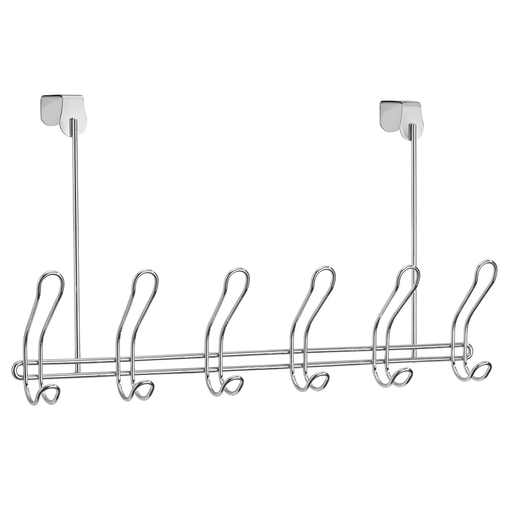InterDesign Classico Coat Rack with 6 Double Hooks, Door Wardrobe for Jackets, Bags, Scarves or Towels, Made of Metal, Chrome 06928EU