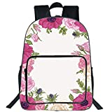 iPrint 19'' Large Casual Backpack,Anemone Flower,Pink Rose and Anemone Flowers Frame Lively Bridal Wedding Design Decorative,Pink Green Apricot,for boys girls