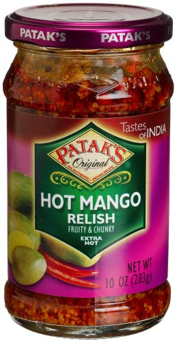 Mango Mild Hot Sauce (Patak's Hot Mango Relish, Extra Hot, 10-Ounce Glass Jars (Pack of)