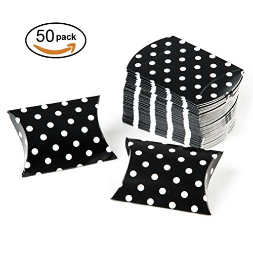 MOWO Black Pillow Candy Box with White Polka Dots Pack of (Dot Box)
