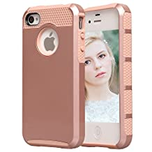 iPhone 4S Case, iPhone 4 Case, AUMI Dual Layer Hybrid Slim Armor Defender Case for Apple iPhone 4/4S (Rose gold)