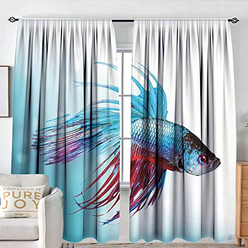 Blackou Curtains Aquarium,Siamese Fighting Betta Fish Swimming in Aquarium Aggressive Sea Animal,Sky Blue Dark Coral,Wide Blackout Curtains, Keep Warm Draperies,Set of 2 Panels 72