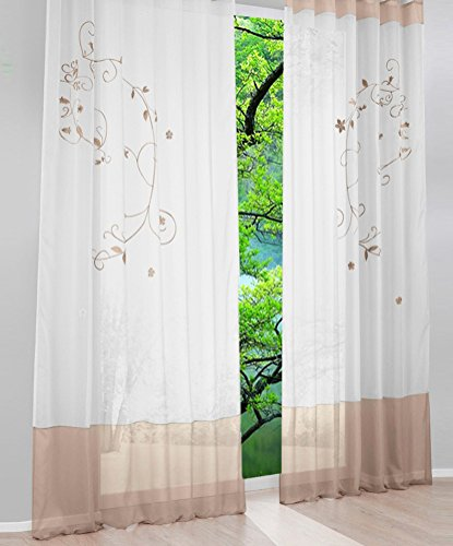 LivebyCare 1pcs Flowers Embroidery Sheer Window Curtain Panel Drape Treatment Grommet Top Voil Drapery Room Divider Partition Decorative Vanlance Pelmet for Wedding Family Room Hotel by LivebyCare (Image #1)