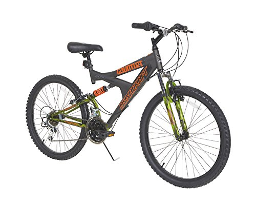 Dynacraft Gauntlet Boys' Dual Suspension 21-Speed Bike, Gray (24-Inch) (Mongoose Mountain Bike Boys)