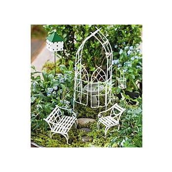 This Item Mini Fairy Arbor Garden Set   Miniature Fairy Garden Planter  Village Kit Decoration Accessories (Willow (7 Piece Set))
