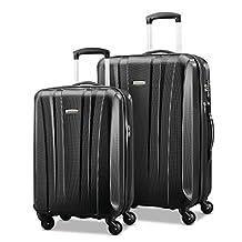 Samsonite 91822-1041 Pulse DLX Lightweight 2-Piece Hardside Luggage Set, Black, Checked – Medium