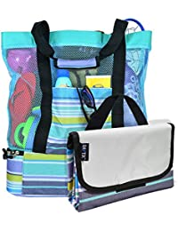 Breezy Convenient Mesh Beach Tote Bag with Lightweight Fold-Up 5'x6' Beach Blanket Mat, Solid Zipper Pocket, Zip Top Closure, Comfort Grip Carry Straps and Built-In Picnic Cooler Bottom (Turquoise)