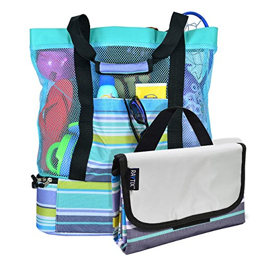 Breezy Convenient Mesh Beach Tote Bag with Lightweight Fold-Up 5'x6' Beach Blanket Mat, Solid Zipper Pocket, Zip Top Closure, Comfort Grip Carry Straps and Built-In Picnic Cooler Bottom (Turquoise) ()