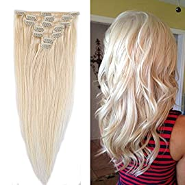 100% Remy Human Hair Clip in Extensions Grade AAAAA Natural Hair Full Head 7pcs 16clips Standard Weft Long Silky Straight for Women Fashion and Beauty (20″ /20 inch 70g,#60 Platinum Blonde)