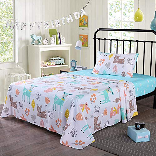 Queen Linens 100% Cotton Sheets Kids Twin Sheets for Kids Girls Boys Teens Children Sheets Bed Sheets for Kids Soft Fitted Flat Printed Sheet Pillowcase Bedding Bed Set Animal Deer (Twin) (Bed Set Deer)