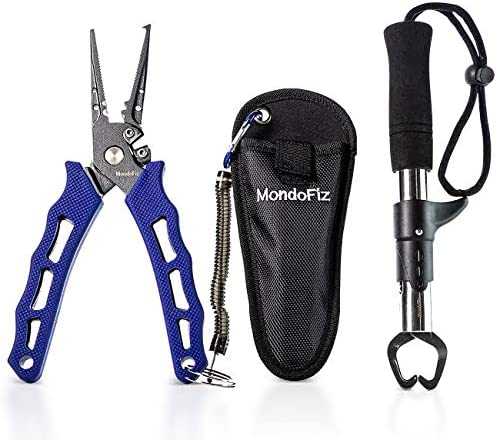 MondoFiz Fishing Pliers – Stainless Steel Hook Remover – Tool for Tying Knots,Saltwater Resistant Fishing Gear – Cut Monofilament, Fluoro, Braid Lines – Sheath, Lanyard, Pistol Grabber – 7.5 Inch
