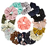 15 Assorted Colors Women's Chiffon Flower Hair Scrunchies Chiffon Hair Ties Ponytail Holder, 8 Colors Chiffon Flower Scrunchies + 7 Solid Colors Hair Chiffon Scrunchies