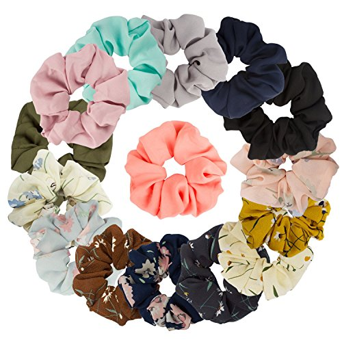 15 Assorted Colors Women's Chiffon Flower Hair Scrunchies Chiffon Hair Ties Ponytail Holder, 8 Colors Chiffon Flower Scrunchies + 7 Solid Colors Hair Chiffon Scrunchies by Curasa