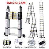 5m 16.5ft Telescopic Extension Ladder Folding Aluminum A-Frame Multi-Purpose Step Ladders with EN131 Max Certificate Load-Bearing Capacity150kg /330lbs - 2.5M+2.5M