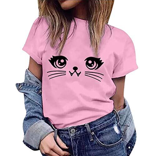 TWGONE Women Cute Graphic Tees,Short Sleeve Slim Fit,Cat Sweatshirt,Girls Crew Neck (XX-Large,Pink-b)