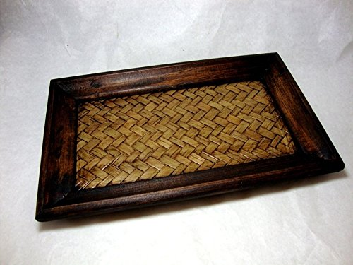 MANGO WOOD BAMBOO WOVEN TRAY SERVING SPA SUPPLIES THAI HANDCRAFT SIZE 5